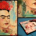 Frida with de Bird, technique mixte, 17x23cm, toile - Vendu