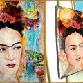 Frida with the Frog, technique mixte, 17x23cm, toile, Vendu